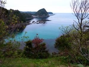 Blick vom Hotelgarten auf die Bucht bei Shimoda