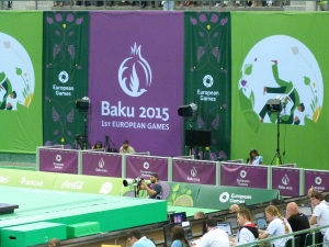 Mixed Zone (TV) in der Judo/Ringen/Sambo-Halle in Baku