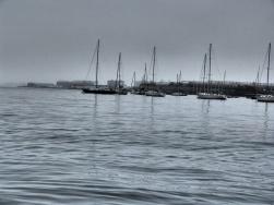 Blick auf Boote am Hafen