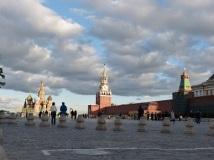 Der Rote Platz mit Lenin-Mausoleum, Kreml und Basiliuskathedrale