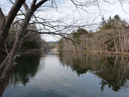 Der Kumoba Teich in Karuizawa ist noch im Winterschlaf